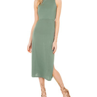 Green Sleeveless Back Cross Midi Knitted Dress