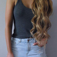 Dark Gray Knitted Cami Top