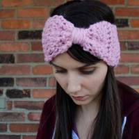Crochet Earwarmer Headband Big Hair Bow in Blossom Pink Winter Fashion Fall Accessory
