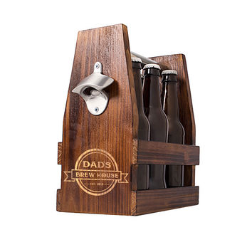 Personalized Dad's Brew House Rustic Craft Beer Carrier with Bottle Opener