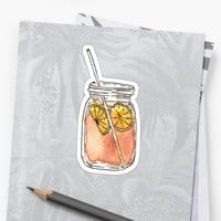 'Mason Jar Summer Sun Ice Tea in Watercolor' Sticker by Blkstrawberry