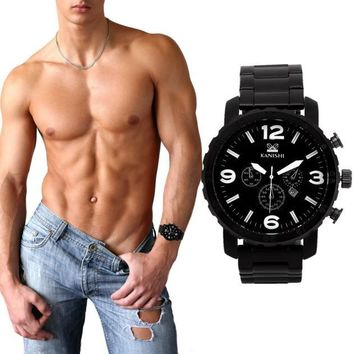 Man Sportssiness Etiquette Date Stainless Steel Quartz Watch