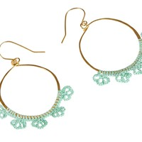Large Brass Hoops with Lace Flowers