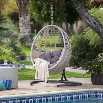Island Bay Palma Resin Wicker Hanging Egg Chair with Cushion and Stand | Hayneedle