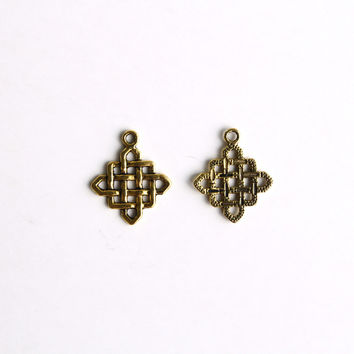 Charm - Chinese Knotting, Antique Gold