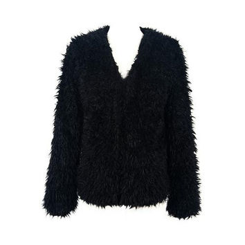 Black Soft Faux Fur Coat with Teddy Texture Lining
