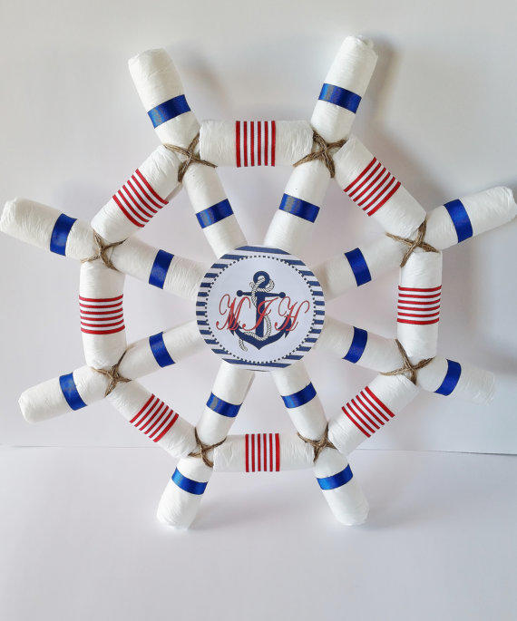 Nautical baby shower centerpiece from little love bugs for Baby shower nautical decoration