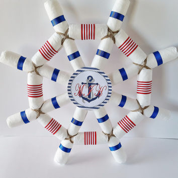 Nautical Baby Shower Centerpiece, Captains Wheel Diaper Cake, Ahoy It's A Boy Baby Shower, Sailor Diaper Cake, Baby Shower Decor