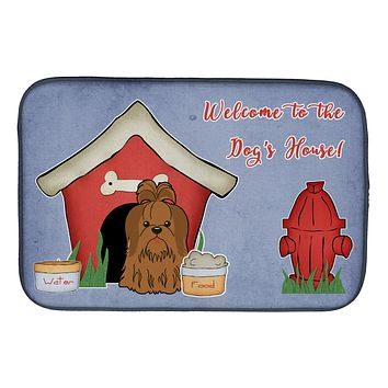 Dog House Collection Shih Tzu Silver Chocolate Dish Drying Mat BB2840DDM