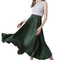 Silhouette Winter Large Swing Long Green Pleated Skirt