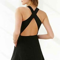 Silence + Noise Cross-Back Textured Knit Dress-