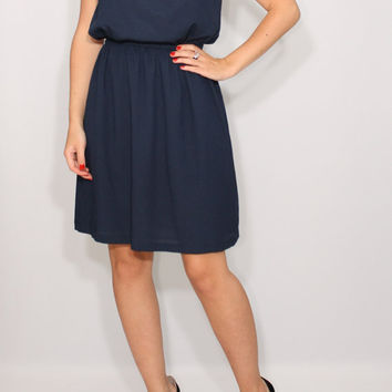 Navy bridesmaid dress Short chiffon dress Navy blue dress Party dress