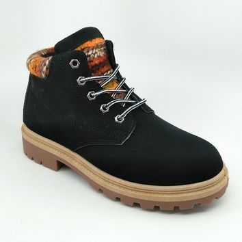 Women's Black Boots with Knit Details
