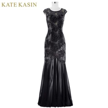 Kate Kasin Long Black Prom Dresses for Wedding Party Sequins Appliques Prom Gowns 2017 Women Cap Sleeve Special Occasion Dresses