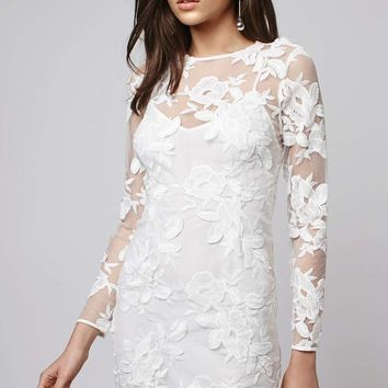 Long Sleeve Applique Mini Dress - Topshop