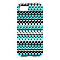 Madart Inc. Turquoise Black White Chevron Cell Phone Case