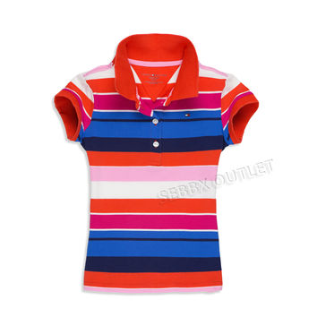 Tommy Hilfiger Polo Shirt Multi Color Striped Short Sleeve