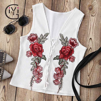 GIYI White Floral Embroidered Tank Top Women Front Lace Up Knitted Bustier Top Vest Sexy Summer 2017 T-shirts Camisole Camis