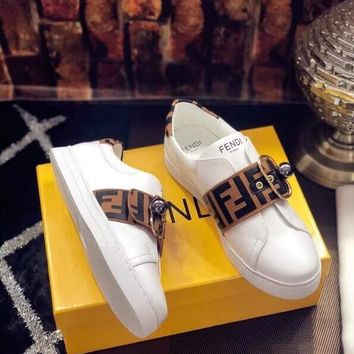 qiyif 2018 Fendi top version leather casual white shoes women's shoes brown