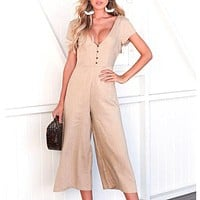 Casual V Neck Solid Color Jumpsuit Women High Waist Wide Leg Long Rompers Female Fashion Holiday Playsuit