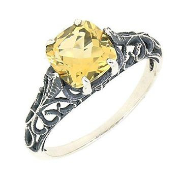 BL Jewelry Antique Finished Sterling Silver Cushion Cut Genuine Citrine Filigree Ring 1 12 CTTW