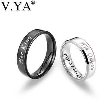 "Cool V.YA Romantic ""His Queen & Her King"" Couple Rings Stainless Steel DIY Custom Jewelry Anniversary Valentine's Day's Promise GiftsAT_93_12"