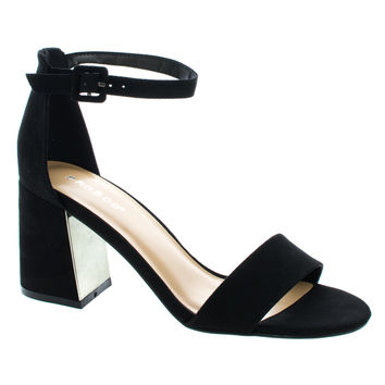 Podcast01 Black F-Suede by Bamboo, Black Faux Suede Velvet Block Heel Ankle Booties W Bow