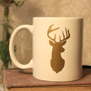 Gold Deer Ceramic Coffee Mug, gift for friend, gift for hunters, nature gift, deer mount, antlers