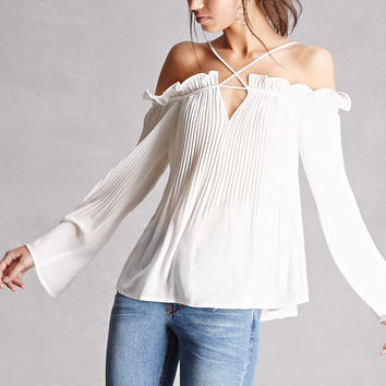 Pleated Open-Shoulder Top