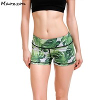 Maoxzon Womens Green Leaf Sexy Slim Fitness Workout Shorts For Female Summer Fashion Casual Beauty Skinny Shorts 4XL