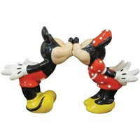 Kissing Mickey and Minnie Mouse Ceramic Salt & Pepper Shakers