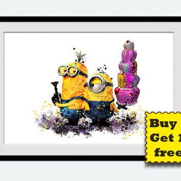 Minion watercolor poster Despicable me colorful print Minions poster Home decoration Kids room decor Nursery room art Gift for birthday W223