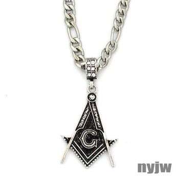 ESBA8C NEW VINTAGE MENS FREEMASON MASONIC PENDANT 5mm 24' FIGARO CHAIN SSP035T