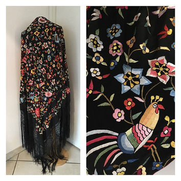Vintage Silk Shawl - Chinese Embroidered Silk Shawl - XXL Shawl with Flowers, Birds and Fringes