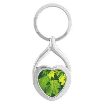 Fresh green maple leaves keychain