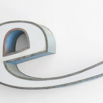"""Large Industrial Metal Letter """"e"""" / Reclaimed Socialist Signage Advertising / Salvaged Volumetric Letter / Romania - 60s"""