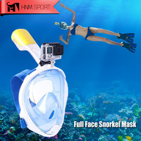 Scuba GoPro Camera Snorkel Mask Underwater Anti Fog Full Face Snorkeling Diving Mask  with Anti-skid Ring Snorkel