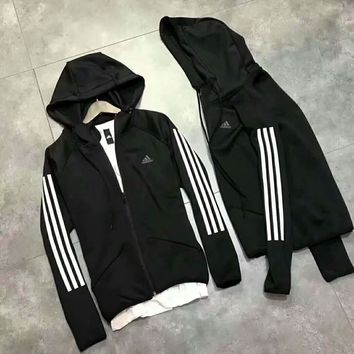 One-nice™ Adidas long sleeve zipper hooded pullover Hoodies Top H-YQ-ZLHJ