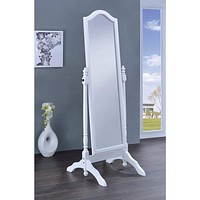 Elegant Cheval Mirror With Arched Top, White By Coaster