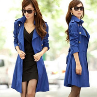 new fashion coat  trenchcoat turn-down collar double-breasted Slim long trench coat for women = 1930482116