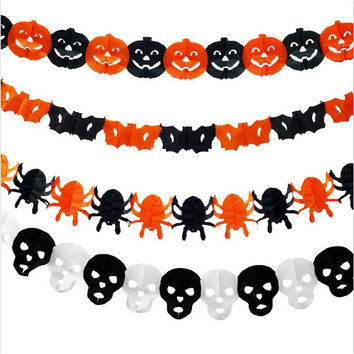 2016 New Style Paper Chain Garland Decorations Pumpkin Bat Ghost Spider Skull Shape Halloween Decor Garland QB873957