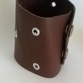 Brown Leather Bracelet Cuff With Eyelets- Free Shipping In USA