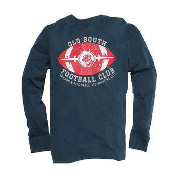 Exclusive Preppy and Football Long Sleeve Tee in Reflecting Pond Navy by Southern Proper