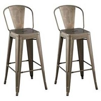 "Carlise 29"" Backed Barstool - Distressed Metal (Set of 2) : Target"