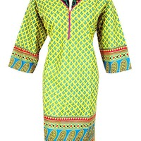 Mogul Women's Yellow Tunic Top Dress Ethnic Embroidered Yoke Kurta Caftan 4XL: Amazon.ca: Clothing & Accessories