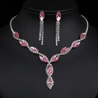 Fashion Leaf Tassel Wedding Jewelry Sets Charm Pink Crystal Choker Necklace Earrings Set Bridal Jewelry Sets Women Accessories