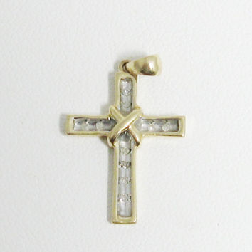 10K Karat Gold Diamonds Cross Pendant Christian Catholic Gemstone Pendant Jewelry Confirmation Baptism Faith Gift
