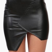 Uneven Mini Skirt in Black