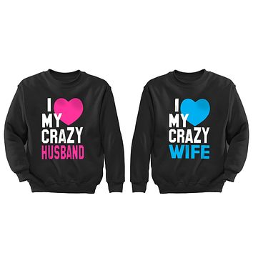 XtraFly Apparel Love Crazy Husband Wife Valentine's Matching Couples Pullover Crewneck-Sweatshirt