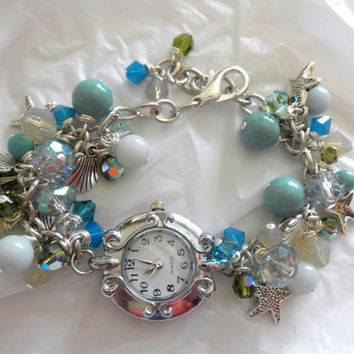Watch Bracelet Beach Theme Bracelet Watch Charm Bracelet Pearl Bracelet Gift for Her
